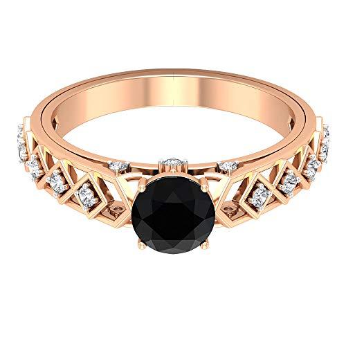Anillo de compromiso de diamantes y ónix negro de 1,2 quilates, anillo de compromiso de diamantes HI-SI, joyería de oro vintage, anillo solitario con piedras laterales, 14K Oro rosa, Size:EU 49