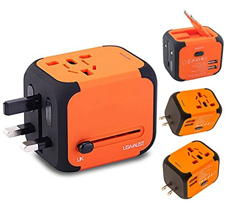 Ailuner Travel Adapter,Worldwide Power Converters Universal World Travel Plug Adapter with 2.4A Dual USB Charger & Worldwide AC Wall Outlet Plugs for USA EU UK AU. (Orange)