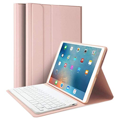 iPad Air 10.5' (3rd Gen) 2019 & iPad Pro 10.5' 2017 Keyboard Case, Upworld Ultra-Slim Lightweight Front Support Stand PU Cover Case with Magnetically Detachable Removable Wireless Keyboard(Rose Gold)