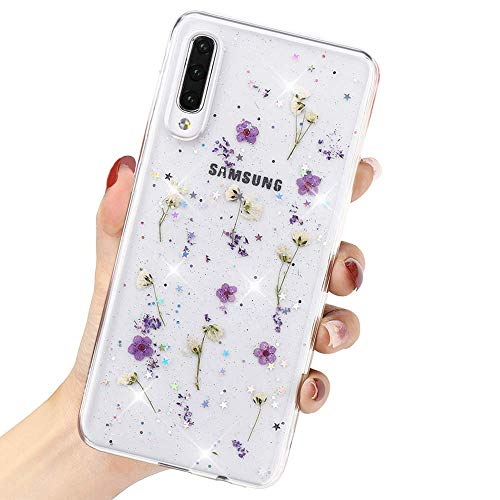 LCHULLE for Samsung Galaxy S21 5G Flower Case for Girls Women Cute Pressed Dry Real Flowers Clear Design Shiny Glitter Floral Case Soft TPU Shockproof Case Cover for Samsung Galaxy S21 5G, Purple