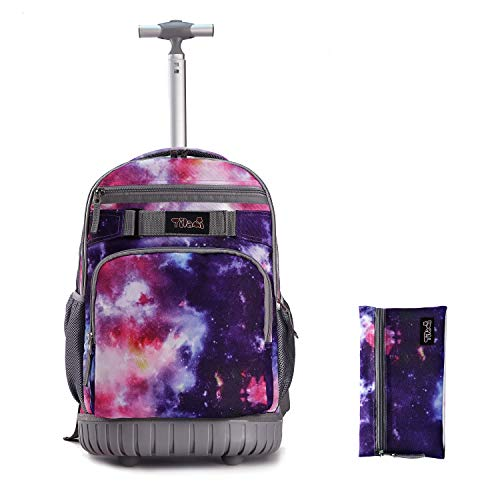 Tilami Rolling Backpack 18 inch with Pencil Case Wheeled Laptop Bag, Galaxy Purple
