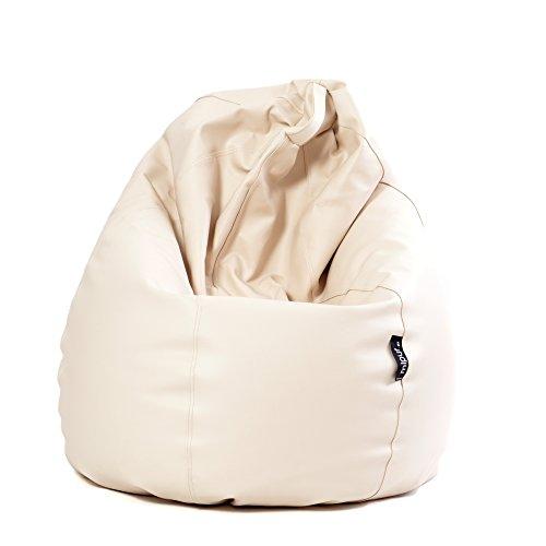MiPuf - Puff de Pera Original Tamaño XL - 130x80x80 cm - Tejido Polipiel Alta Resistencia - Doble Costura y Doble Cremallera - Relleno Incluido - Beige - 4 años de Garantía