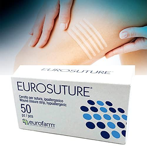 Eurosuture (mm 6 x mm 38) Wondsluitingsstrips steriel, Vervaagde kleur voor een aangename cosmetische aanblik,300 Stuks