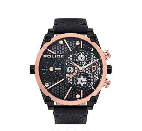 Police Unisex Erwachsene Analog Quarz Uhr mit Leder Armband PL15381JSBR.61