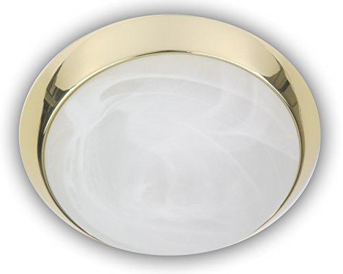 Niermann Standby 19003 - Lampada da soffitto A++ to E, con anello decorativo in ottone lucido, 40 x 40 x 13 cm