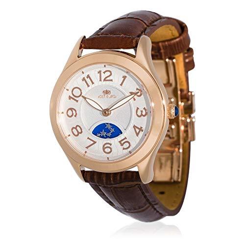 Reloj Jost Burgi para mujer de cuarzo, 33 mm, esfera blanca, correa de piel marrón, HB4A13C3BC2