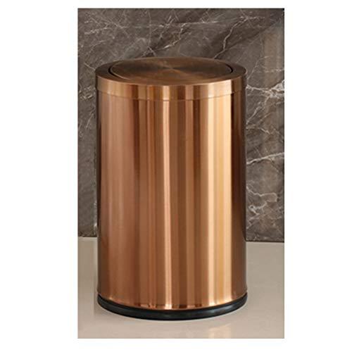 ABBD Basurero de Acero Inoxidable con Tapa, Basurero basculante Baño, Basurero pequeño para Dormitorio, Papelera de Metal Papelera para Oficina Sala de Estar Cocina Gold