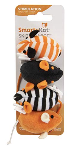 SmartyKat Skitter Mice Set of 4 Catnip Filled mice, Orange and Black