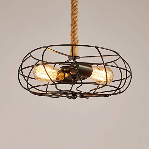 Höhenverstellbare Deckenpendelleuchte Industrie-Weinlese-Eisen-Metallventilator hängende Laternen-Licht mit Cage Hanf-Seil-E27 3-Leuchten Decken-Beleuchtung-Befestigung for Restaurant Küche lsmaa