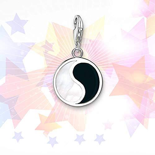 Dameshanger van 925 zilver, Ersonality Chainless modern, wit en zwart, nagellak Tai Chi Gossip vorm hanger charme voor vrouwen geschenk voor Valentijnsdag Kerstmis cadeau
