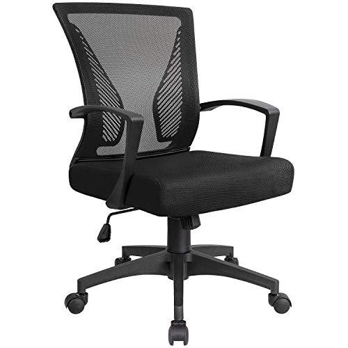 KaiMeng Office Chair Ergonomic Mesh Computer Chairs Lumbar Support Mid Back Study Desk Chair Small Modern Task Chair Cheap Adjustable Swivel, Black