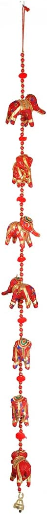 7 Elephant Indian Traditional Hanging string Garlands with Bell, Wall Hanging, Wedding Party Décor, Decorations for home Temple Bedroom kids room and Gifting ( Size :- 42