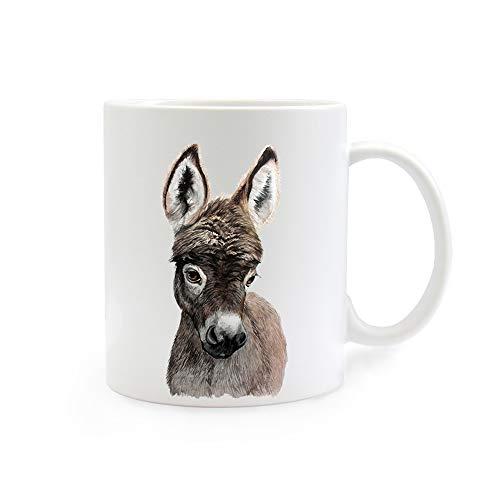 ilka parey wandtattoo-welt Tasse Emaille Becher oder Thermobecher Kaffeebecher mit Esel Kaffeebecher Esel-Motiv Geschenk pb014 - ausgewähltes Produkt: *Kaffeetasse*
