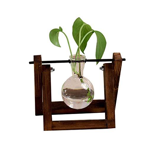 Keepbest Glazen Bloempot 1st Glas Bloempot Transparante Plant Terrarium Glas Vaas met Houten Stand voor Huisdecoratie