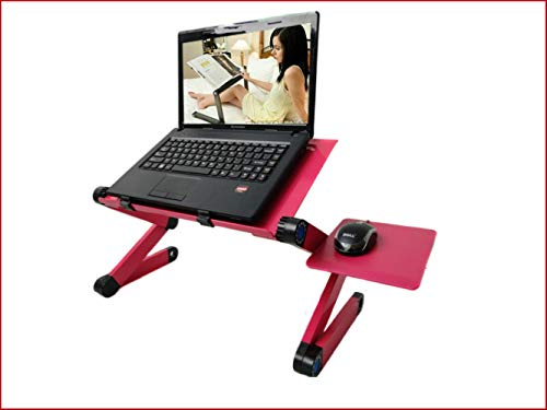 Jackchen Koeling Laptop Tafel Bed Computer Bureau Luie Aluminium Vouwtafel Standaard warmte wastafel plus muisbord Rose Rood