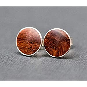 8mm 925 Silber Ohrstecker Holz Cabochon Ohrringe Ohrstecker Fake Plugs hölzern Wooden ear studs wood cabochons…
