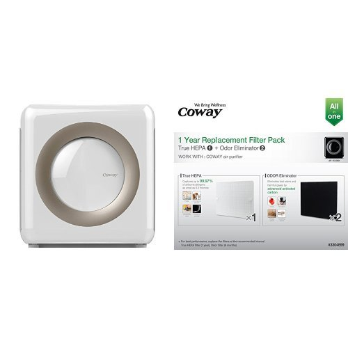 Coway AP-1512HH Mighty Air Purifier, White and Coway Replacement Filter Pack for AP1512HH Bundle