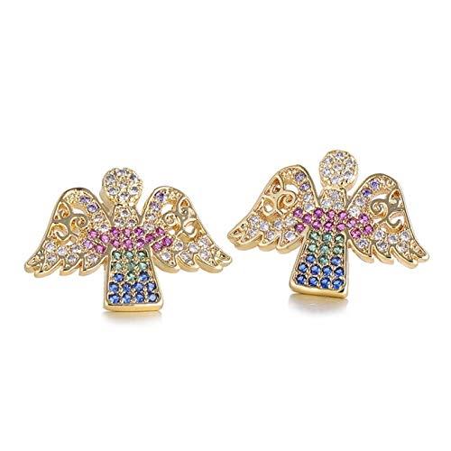 chushi Fashionable Wing Angel Earrings Gold Grade Cubic Zirconia Women's Earrings For Women Girls Earrings Jewelry Wedding Party Zzib (Color : Angel)