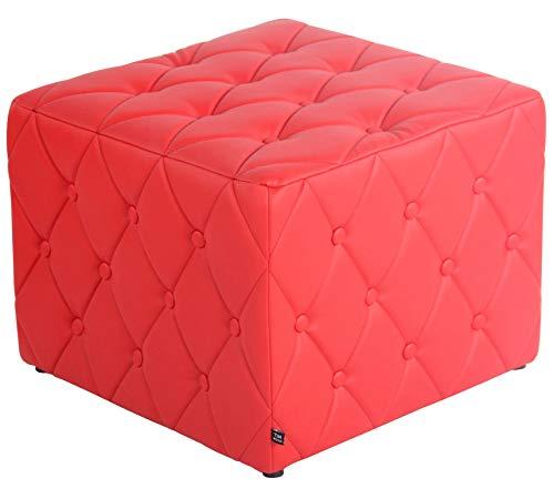CLP Poggiapiedi Puff Quadrato Nashville in Similpelle E Legno I Pouf Divano Imbottito Design Chesterfield con Bottoni I H 37 CM, Colore:Rosso