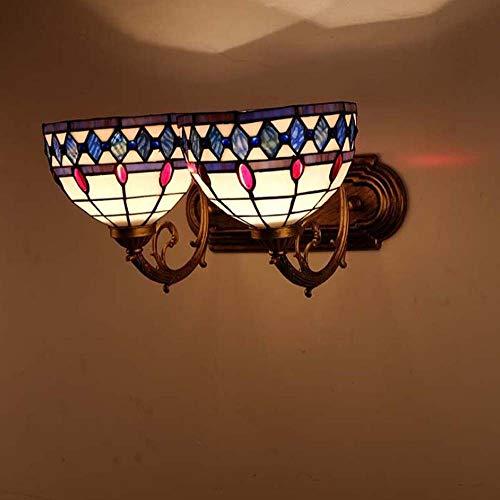 LED Tiffany stijl wandlamp spiegel schijnwerper glazen lampenkap wandlamp mediterrans gang bedlampje E27 GJX (grootte: dubbele kop)