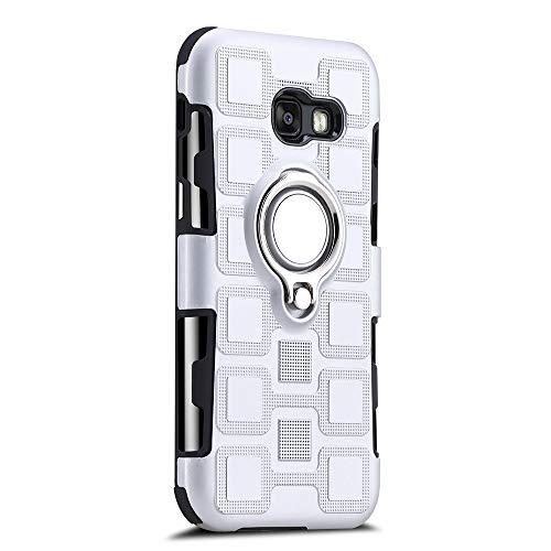 Sunrive Für Samsung Galaxy A5 (2017) Hülle Silikon, 360°drehbarer Ständer Ring Fingerhalter Fingerhalterung Handyhülle matt Schutzhülle Etui Case (11 Silber)+Gratis Universal Eingabestift