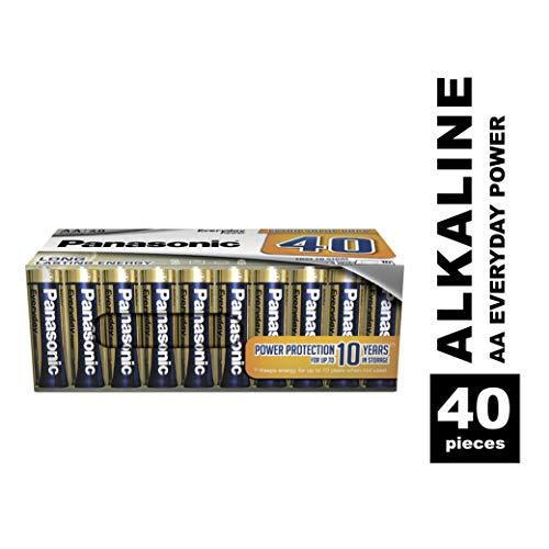 Panasonic EVERYDAY POWER Alkaline Batterie, AA Mignon LR6, 40er Pack in plastikfreier Verpackung, für zuverlässige Energie, Alkali-Batterie