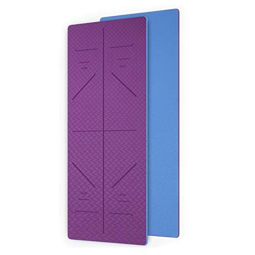 WXHXSRJ Esterilla de yoga, alineación de yoga TPE ecológica, antideslizante, ligera, plegable, esterillas de pilates de gimnasio en casa, 183 x 66 x 0,6 cm, morado oscuro + azul cielo