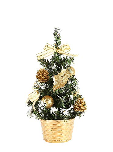 Prudance 8 inchTall Mini Artifical Desktop Christmas Tree Decor Pine Trees Christmas Decoration for Home Party Holiday (Gold)