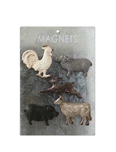 Creative Co-op Pewter Card (Set of 5 Styles) Animal Magnets, Multicolored, 5 Count
