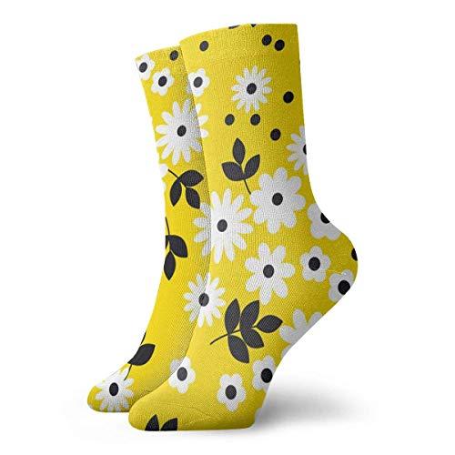 Novedad Divertido Crazy Crew Sock Naive Simple Amarillo Geometri c Naranja Patrón de flores Impreso Sport Calcetines deportivos 30cm de largo Calcetines personalizados de regalo