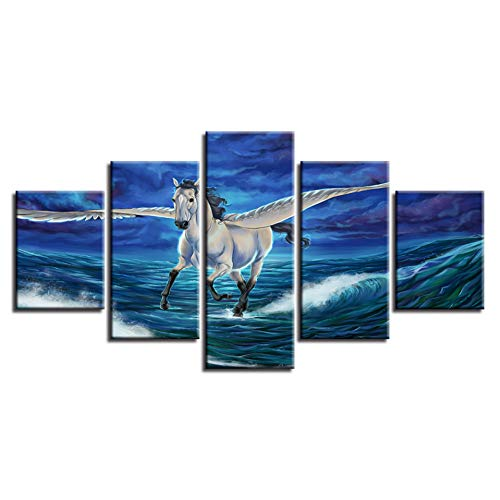 WHFDH canvasdruk poster muurkunst 5 stuks golf Pegasus seascape schilderij Pegasus afbeelding woonkamer decoratie 30x40 30x60 30x80cm Frame