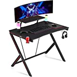 Gaming Desk 39' with Monitor Shelf Gaming Table Home Computer Desk with Cup Holder and Headphone Hook Gamer Workstation Game Table (39' W x 29'' D), Motpk