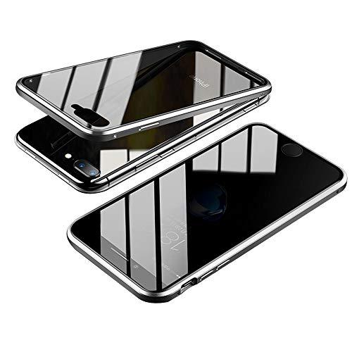 Jonwelsy Anti-Spy Funda para iPhone 8 Plus (5,5 Pulgada), 360 Grados Proteccion Case, Privacidad Vidrio Templado Anti espía Cover, Adsorción Magnética Metal Bumper Cubierta para iPhone 7 Plus (Plata)