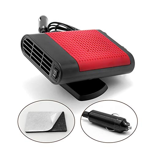 Anxingo Car Heater Fan Auto Defroster with Air Purification 12V 150W Fast Heating Quickly Defrosts Defogger Ceramic 3-Outlet Plug in Cigarette Lighter (red)
