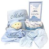 Canastilla bebe Happy Dreams | Cesta bebe Recién Nacido | Set Recien Nacido |Canastilla Personalizada (Azul)