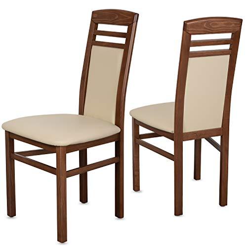 Staboos 2er Set Esszimmerstühle Leder CH44 - Stuhlset bestehend aus 2 Stühlen - Polsterstuhl bis 150 kg - Holzstuhl gepolstert (Nussbaum - Beige)