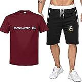 T-Shirts et Shorts de 2 pièces for Hommes for Can-AM/BRP Mode imprimé T-Shirt à Manches Courtes et Shorts Set Summer Outfits Casual Set Schecsuit (Color : E, Taille : L)