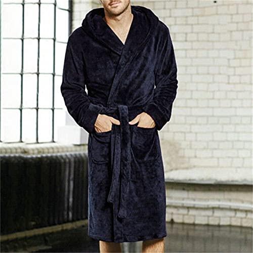 Invierno cálido Casual Mujer Hombre Albornoz Bata de Franela Cuello en v Manga Larga Felpa Chal Kimono cálido Hombre Batas de baño Abrigo-Blue-2-XL
