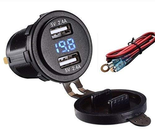 Switchtec QC 3.0 USB to SAE to Dual Waterproof USB Charger w/Voltmeter, 10A Fuse, 48 in. Extension Cable w/Ring Terminals & Quick SAE Disconnect. Motorcycle Phone Charger.