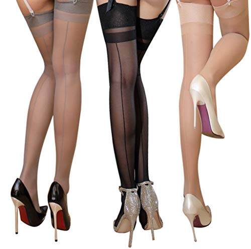 lifevv 3 Pairs ultra thin sheer thigh high rib top stockings Sexy Pantyhose ((Black+Nude+Grey) Backseams)
