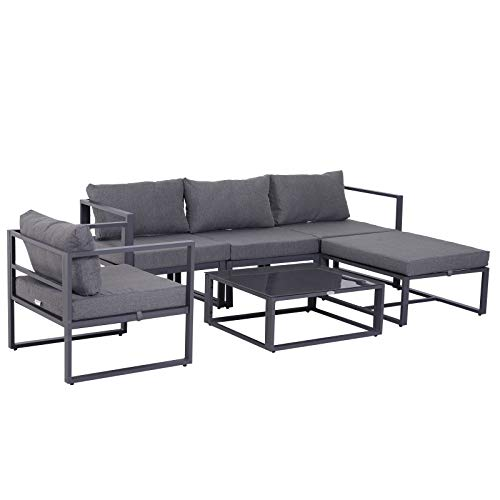 Outsunny Ensemble Salon de Jardin Design Contemporain Style Yachting 5 Places avec Coussins et Table Basse Aluminium Gris