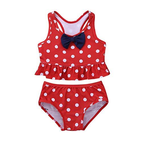inlzdz Baby Mädchen Zweiteiler Badeanzug Tankini Bikini Set Top+Rüschen Slip Kleinkind Bademode Sommer Schwimmanzug mit Polka Dots Gr.62-110 Rot 80-86