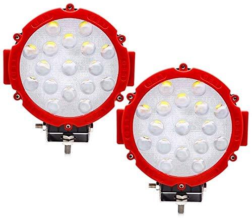 Barra de luz LED de brillo de 51 W, luz de punto redondo, luces de conducción todoterreno, antiniebla, parachoques de techo, compatible con Jeep, todoterreno, camión, ATV, SUV