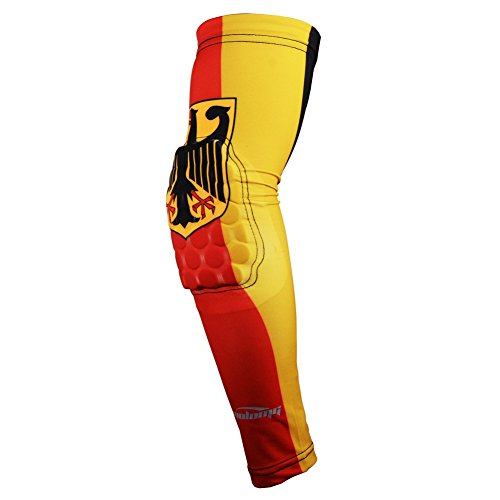 COOLOMG (1 Piece Youth Adult Power Shooter Arm Sleeve Compression Padded Baseball Basketball Cycling Nebula Sky5 L