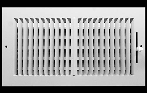 16' X 8' 2-Way-Vertical AIR Supply Grille - Vent Cover & Diffuser - Flat Stamped Face - White [Outer Dimensions: 18.25'w X 9.75'h]