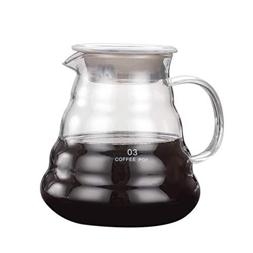 kdjsic Vierta sobre café Gotero Brew Resistente al Calor Cafetera de Vidrio de borosilicato Alto Ven Servidor de café con Tapa