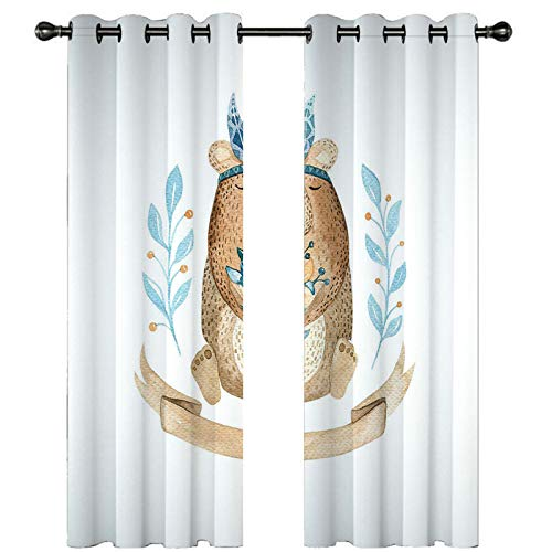 ANAZOZ Blackout Curtains For Bedroom 2 Panels Set,Bear Animal with Leaves and Flowers White Blue Brown,Outdoor Polyester Curtains,264x274CM