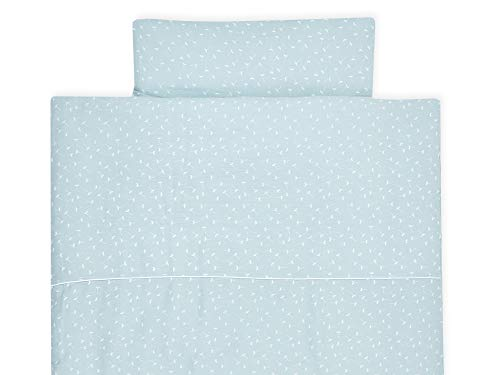 KraftKids Bettwäsche-Set Musselin mint Pusteblumen aus Kopfkissen 80 x 80 cm und Bettdecke 140 x 200 cm, Bettbezug aus Baumwolle, handgearbeitete Bettwäsche gefertigt in der EU