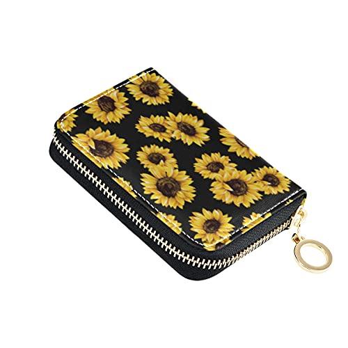 Girasol tarjeta de crédito titular caso cuero impreso cremallera tarjeta de identificación cartera para mujeres niñas 20312827