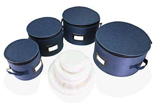 Katai 4 Piece Dinnerware Storage Set in Navy - Hard Shell Twill Plate Protector Case Complete with 48 Felt Dish Dividers